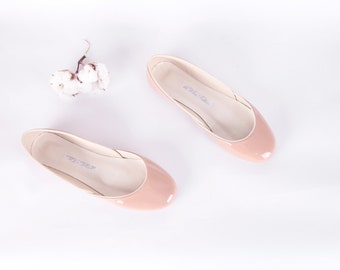Blush Patent Leather Ballet Flats | Ballerina Shoes | Glossy Shine Flats | Wedding Shoes...Tea Rose...made to order