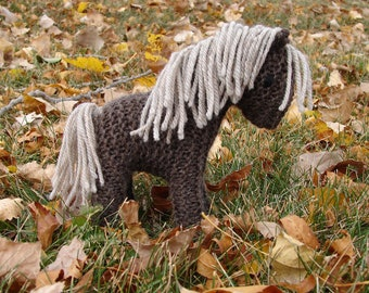 Horse, Pony Knit Wool Toy - brown natural waldorf stuffed animal