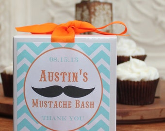 8 - Mustache Party Favor Cupcake Boxes - ANY COLOR - mustache baby shower, mustache theme, mustache birthday party