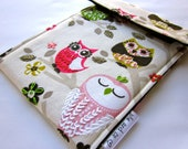 kindle sleeve - kindle paperwhite - touch case - hand embroidered tablet cover - sweet owls and flowers in lime green and pink - quilt lined