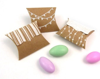 "Tiny Pillow Boxes - 20 DIY Recycled Kraft mini favor boxes - jewelry packaging - small gift box - tab tuck closure - 2"" x 1.5"" x .5"""