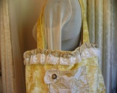 Yellow Velvet Tote Bag, handmade fabric tote, lace decorated, shoulder bag double straps, Large