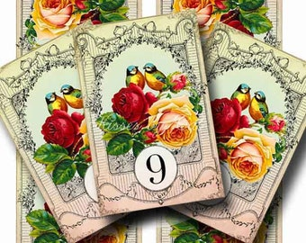 Vintage Wedding Table Numbers Digital Collage Sheets Birds Roses SUMMER LOVE 10 Printable Tented Cards Instant Download Gallery Cat  CS199