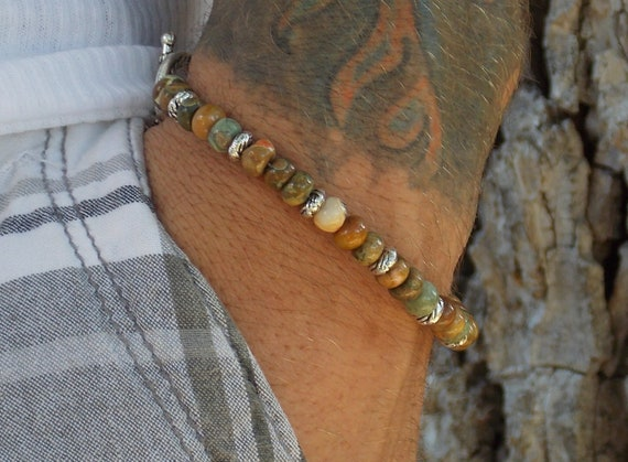 His Rhyolite Gemstone and Pewter Bracelet Free shipping US
