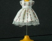 Tiny Cream Floral Stripe Dress for LPS Blythe or Petite Blythe
