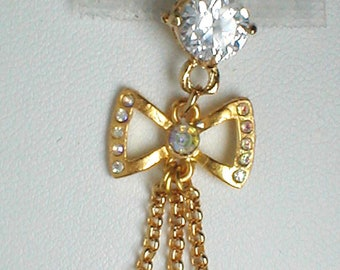 Unique Belly Ring - Bow with Pearl Pendant