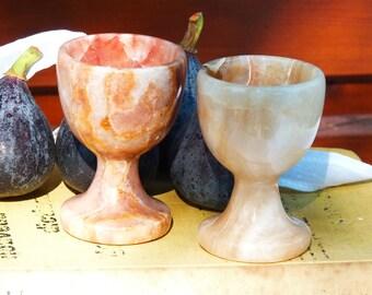 Two Vintage Alabaster Egg Cups - 2 pcs - Home Decor - Spring Vintage Finds - Egg Holder - Collectible - Spt Team