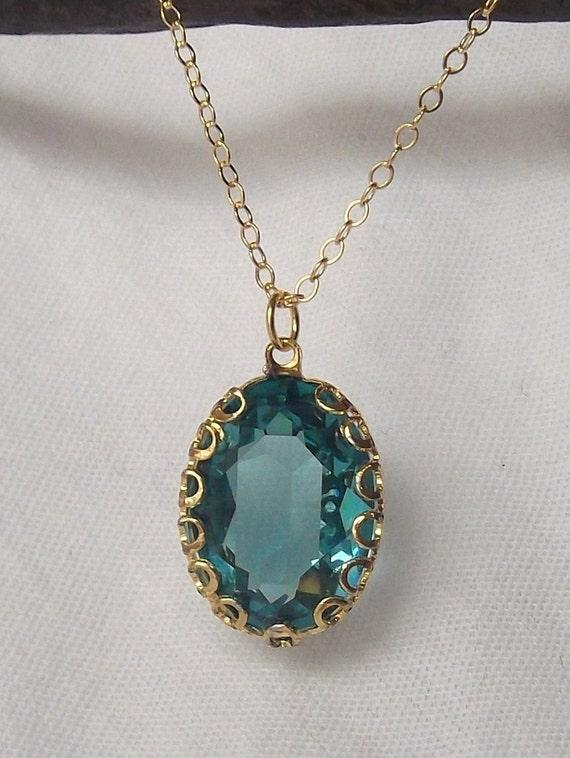 Beautiful Swarovski Indicolite Pendant Necklace in Gold