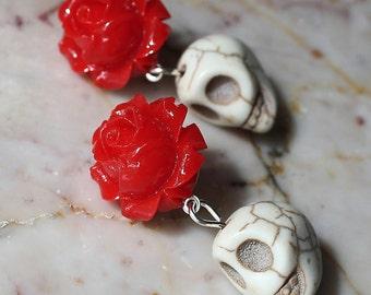Day of the Dead Dia de los Muertos Frida Romantic Red Rose Turquoise Sugar Skull Kawaii Dangle Hypoallergenic Stud Post Earrings