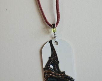 metal photo pendant, eiffel tower, paris photography