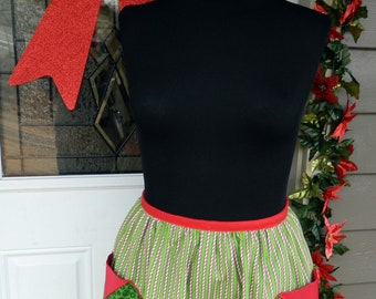 Christmas Half Apron - Candy Cane Stripe
