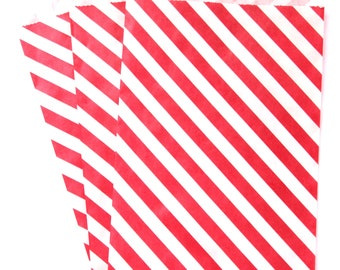 50% OFF CLEARANCE SALE - 15 Red Stripe Large Treat Bags (Treat Bags, Favor Bags, Gift Wrap, Envelopes) - 6.25 x 9.25 inches