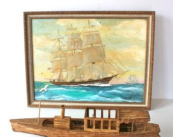 Vintage Folk Art Matchstick Boat: Tramp Art