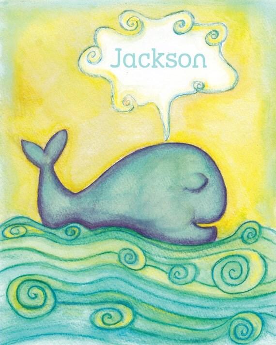 Nursery prints whale : Whale nursery print