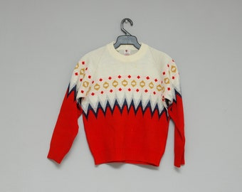 70's kid sweater: knit vintage sweater, for children, circus theme, geometric, red and white, diamonds, chevron, girl, boy, mexican vintage.