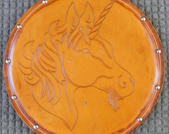 SHIELD - Unicorn - Hand Carved Leather