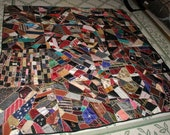 "Antique Crazy Quilt Dated 1895 and 1900 Of Silks and Velvets - Measures 70"" x 70"""