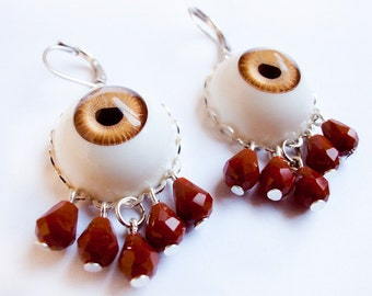 Weird Earrings - Brown Eye with Red Blood Teardrops - Gothic Halloween Horror Macabre Goth Spooky Offbeat Lowbrow Pop Surrealism