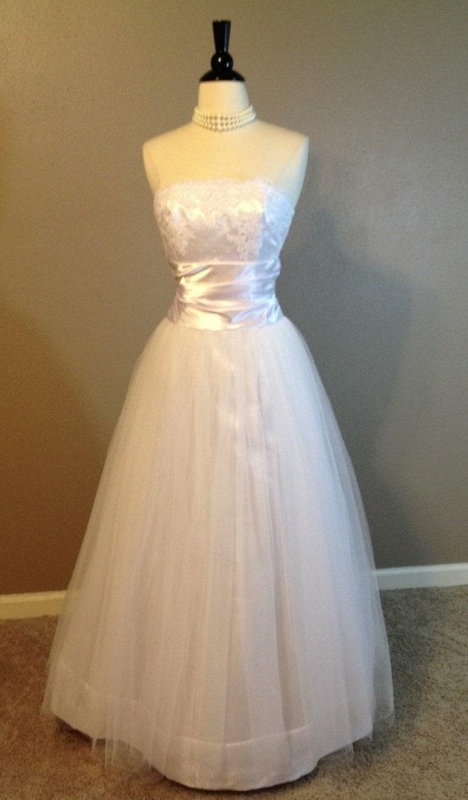 Vintage Jessica McClintock Strapless Wedding Dress XS
