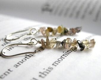 Harvest Earrings - Multicolor Tourmaline Sterling Silver Ear Wires / Autumn Jewelry, Earthy Neutral Linear Dangle, October Birthstone