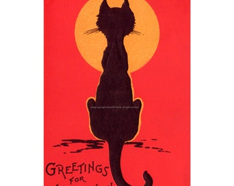 Halloween Cat Card - Under the Full Moon - Repro Greeting Card