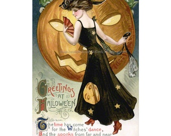 Halloween Witch Card - Witches Dance with Goblins Pumpkin - Vintage Style