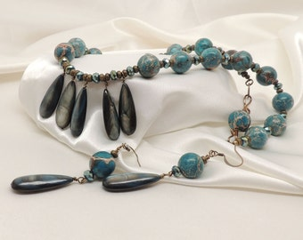 Dark Teal Abalone and Aqua Terra Jasper Necklace Set
