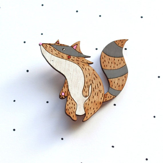Wooden Laser Cut Racoon Brooch - SALE