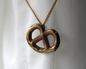 brass pretzel necklace food jewelry brass pendant on brass chain