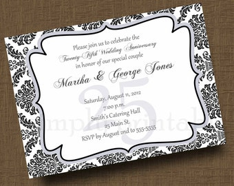 25th Anniversary Invitation Damask (50th) Printable File
