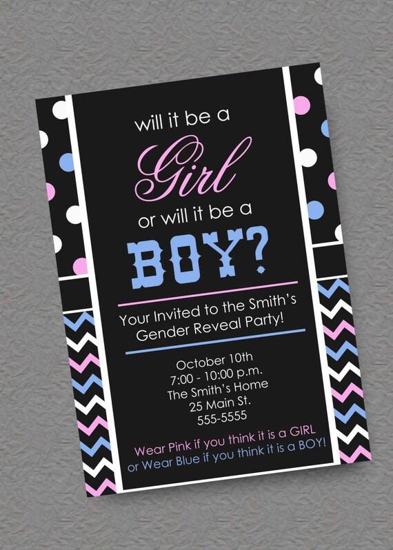Gender Reveal Party Invitation or Bridal Shower