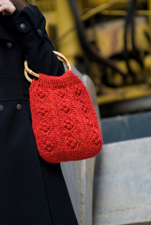 Crochet Bag Bamboo Handles Pattern : Items similar to SALE SALE SALE Red Crochet Bag with ...
