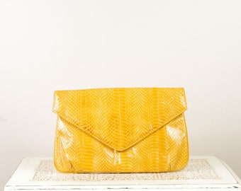 Vintage J. Renee Snakeskin Purse in Yellow - 1980s Purse - Vintage Fashion - 80's Prom - Clutch - Handbag - Gift for Her