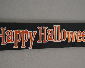 Black Orange and White Happy Halloween Wall Hanging
