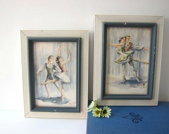 Pair of Ballerina Prints, White and Blue Frames