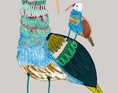 Mummy and Baby Bird. Limited edition art print by illustrator Ashley Percival. Art Print.
