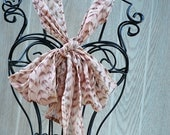 CLEARANCE  Pastel Pink and Tan Abstract Feather Print Semi- Sheer NECK BOW-Headband-Head wrap-Fashion Wear-Neck Wear by The Accessories Nook
