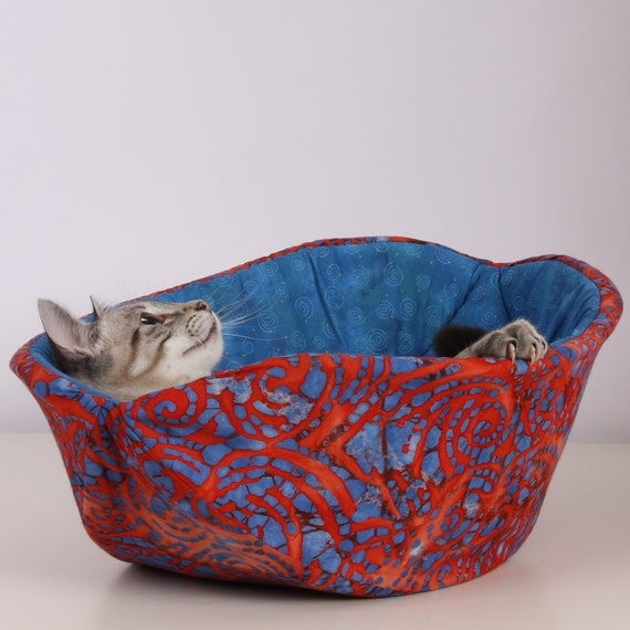 Cat Canoe a Modern Kitty Bed in Red and Blue Batik