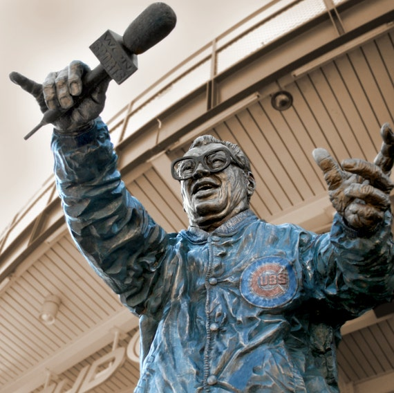 Chicago Cubs Harry Caray Canvas from Wrigley Field Print