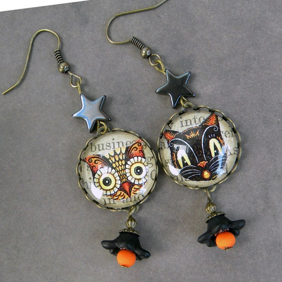 Halloween Black Cat Earrings - Halloween Owl Earrings - Retro Halloween - Owl and The PussyCat - Black Cat and Owl -Or 2 CAts OR 2 OWLS