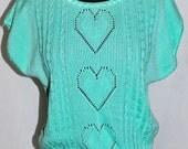 Vintage 80s Mint Green Sweater HEARTS sleeveless sz M medium