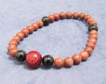 27 Mala Beads Wrist Buddhist Worry Beads Inspiring Gift for Yogi Friend, Red Jasper Onyx Spiritual Chakra Bracelet Men Inspirational Jewelry