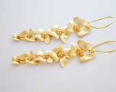 Cascading Gold Plated Cherry Blossom Flower Earrings, 14K Gold Filled French Hoops, Wedding Jewelry, Gift Under 30