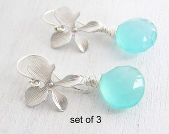 Discounted Set of 3 Aqua Chalcedony Silver Orchid Flower Earrings, Argentium Sterling Silver Hoops,  Bridesmaid Gift, Wedding Jewelry