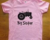 Big Sister Shirt - 7 Colors Available - KidsTractor T shirt Sizes 2T, 4T, 6, 8, 10, 12 - Gift Friendly