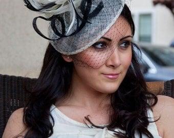 "Ivory Fascinator - ""Noor"" Ivory & Black Fascinator Hat Headband w/Ribbon Waves a Black Birdcage Veil"