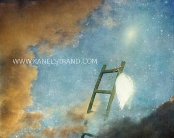 Jacob's ladder, Christian art, angel wings, surreal art print, heaven, Book of Genesis