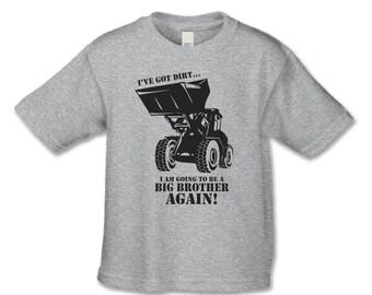 Big Brother To Be Shirt -  Bull Dozer Bigger Biggest  Brother T-Shirt (Black Ink)  Pregnancy Announcement Shirt