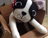 Boston Terrier Stuffed Animal Movable Plush Doll
