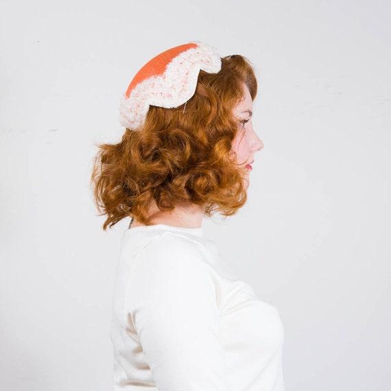 vintage 1950s hat / toque / Creamsicle